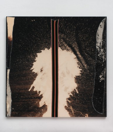 "Sterling Ruby, ""BC (4956)"", 2014, fabric, glue and bleached canvas on panel, 213.4 x 213.4 x 5.1 cm (84 x 84 x 2 inches)"