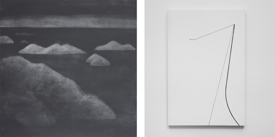 "Left: Silke Otto-Knapp, ""Islands (Black Sky)"", 2014, watercolour on canvas, 100 x 100 cm; / Right: Florian Pumhösl, ""Expanse (Variante)"", 2014, oil on ceramide plaster, 40 x 30 cm"