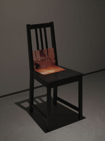 "Yuki Kimura, ""Untitled"", 2010, 2 lambda prints mounted on plexiglass, chair, black pepper, 41.5 x 45 x 90 cm"